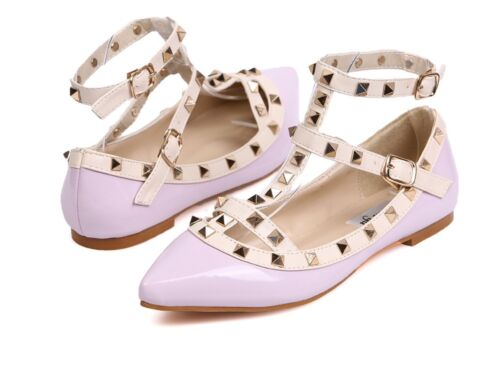 Mary Jane Ballerinas Flats with Studs Straps Red Black Pink