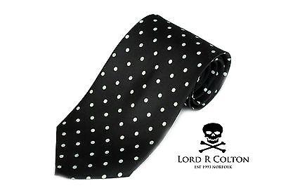 Lord R Colton Studio Tie - Black & White Polka Dot Necktie - $95 Retail New