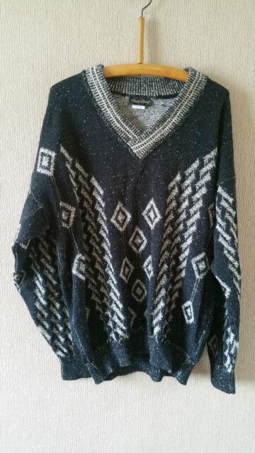 """Vintage Mens Knitwear V Neck Jumper Black with White Patterns -Size Large 44"""""""