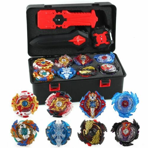 8PCS Beyblade Burst Set Spinning W// Grip Launcher Portable Box Case Xmas Gift