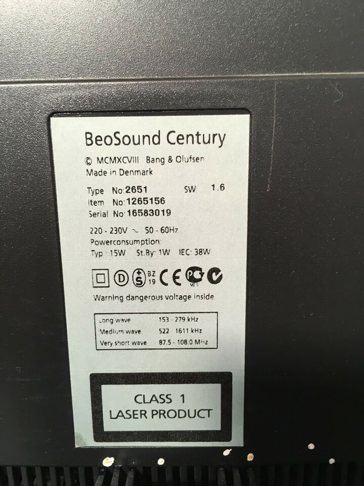 Stereoanlæg , Bang & Olufsen, Beosound century