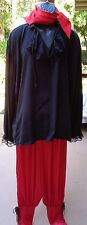 Red & Black Quality 5 Pc Pirate Costume w/Hat, Necklace, Scarf fits most all