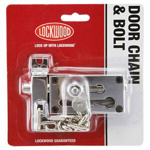 Lockwood Door Chain & Bolt Lock – Brass Plate or Silver | eBay