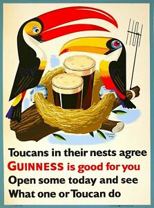 Guinness Beer Toucan Ireland Great Britain Vintage Travel Art Poster