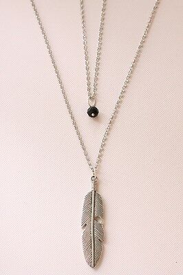 Silver Tone Feather Double Chain Necklace Necklace - Made in Barcelona IA-0330