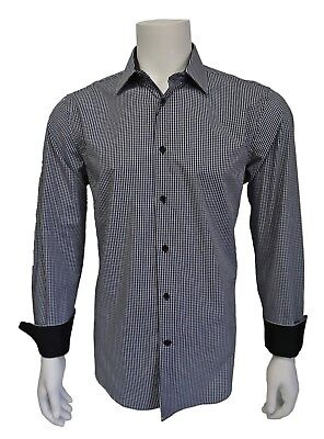 Inserch Mens Navy Blue Denim Shirt with Blue Microsuede Trimming