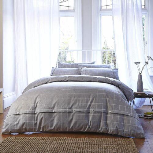Brushed Cotton Grey Check Flannelette 100/% Cotton Duvet Cover Set