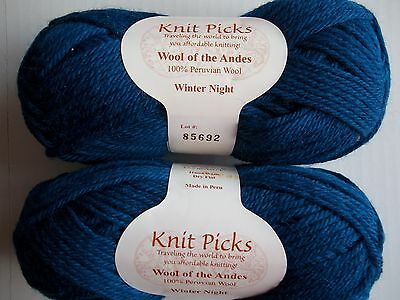 Knit Picks Wool of the Andes 100% wool yarn, Winter Night, lot of 2 (110 yds ea)