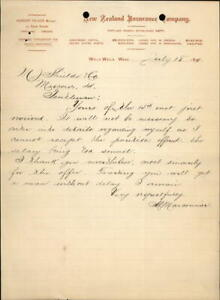 1890 Portland Oregon (OR) Letter New Zealand Insurance Company