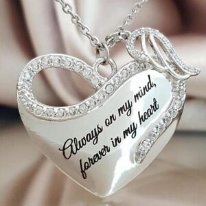 Always-On-My-Mind-Forever-in-Heart-Engel-Fluegel-Herz-Anhaenger-Halskette-flYfE