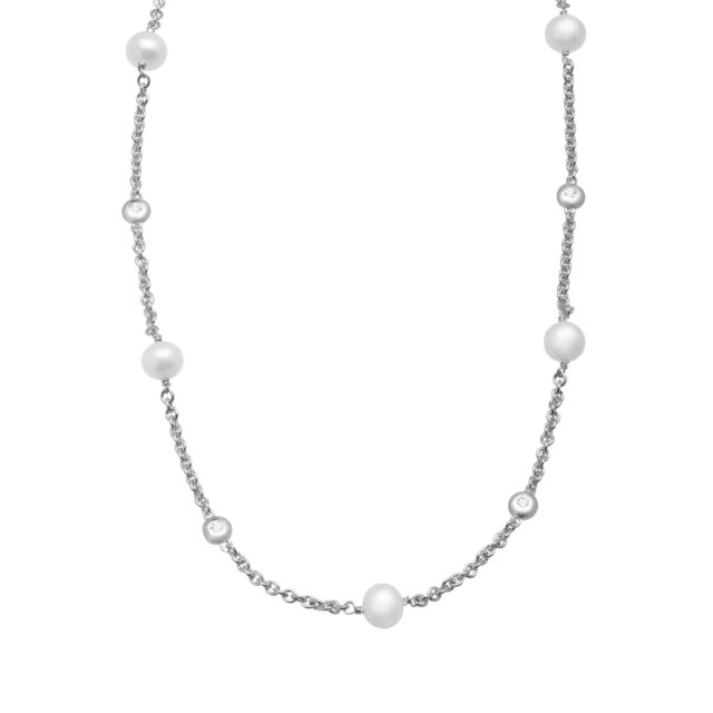 Freshwater Pearl & Created White Sapphire Station Necklace, Sterling Silver