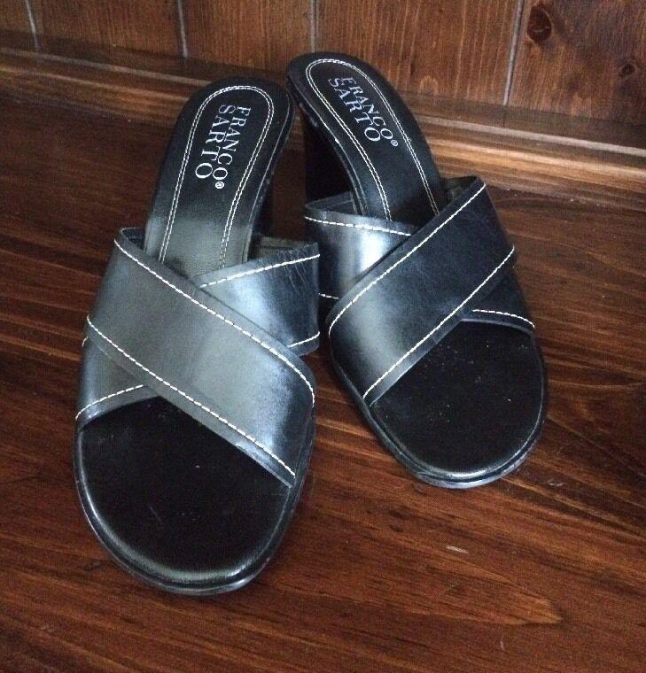 FRANCO SARTO Womens Black Heel Leather Square Toe wide Heel Black Slide Shoe Sandals 8.5 614b54