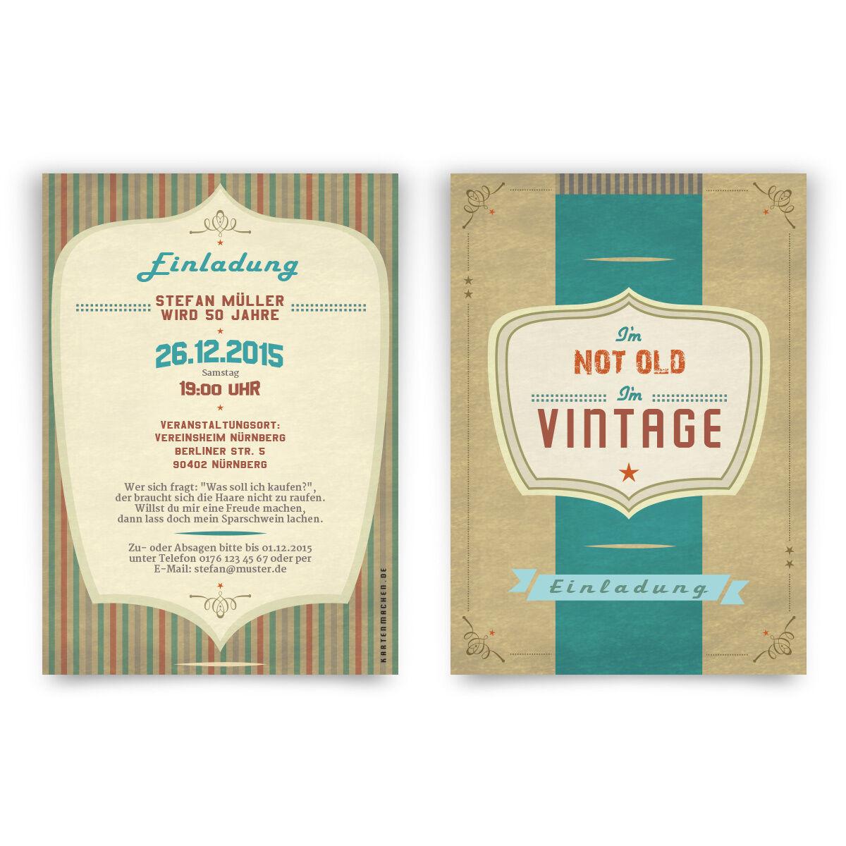 Einladungen I'm not old I'm Vintage Retro Old School 40er 50er 60er 70er Karten