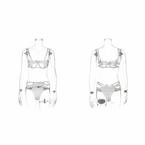 Details about  /Sexy Women Set Mesh Lingerie Underwear Two Piece Set See Through Bra Thong Panty