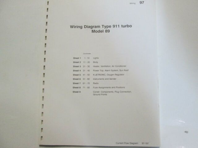 Porsche 911 Turbo Model 89 Wiring Diagrams Manual Factory Oem Book Loose Leaf