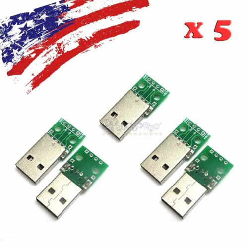 5PCS Male USB to DIP Adapter Converter 4pin for 2.54mm DIY PCB Board US