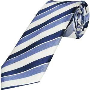 TiesRUs Blue Striped Hand Made Classic Men's Tie 100% Silk Neck Tie