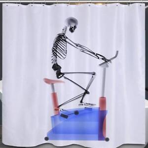 Image Is Loading Skeleton On Exercise Bike Bathroom Shower Curtain Polyester