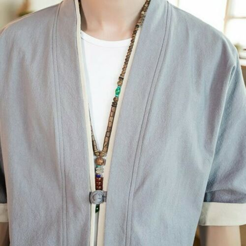 Hommes Cardigan Manteaux lin demi-manches Summer Solid chinois Loisirs Kimono vestes