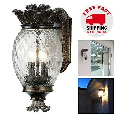 Brushed Bronze Outdoor Wall Mount Pineapple Sconce Coach Light Lamp Lantern Home