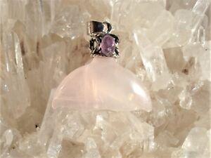 Rose-Quartz-PINK-TOURMALINE-Antique-Style-Silver-Pendant-Gift-Great-Price