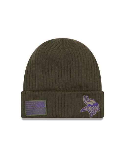 reputable site b0802 4ac30 Minnesota Vikings New Era 2018 Salute To Service Sideline Knit Hat - Olive