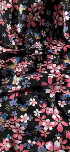 Black Multicoloured Floral 100/% Japanese Cotton Fabric 58/'/' PRICE PER METER