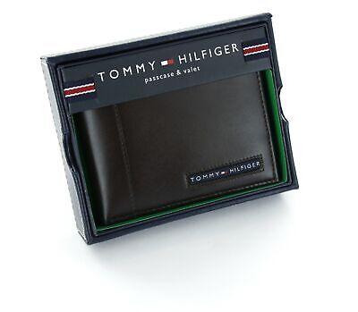 New Men/'s Tommy Hilfiger Leather Credit Card Wallet Bifold-dark 5675-02 Brown