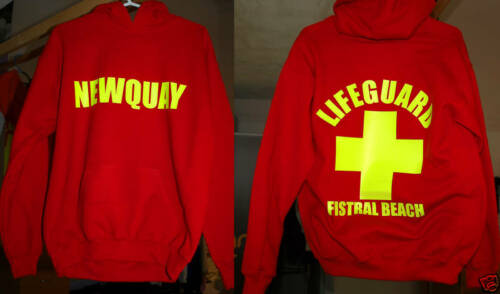 RED NEWQUAY LIFEGUARD HOODIES ALL SIZES
