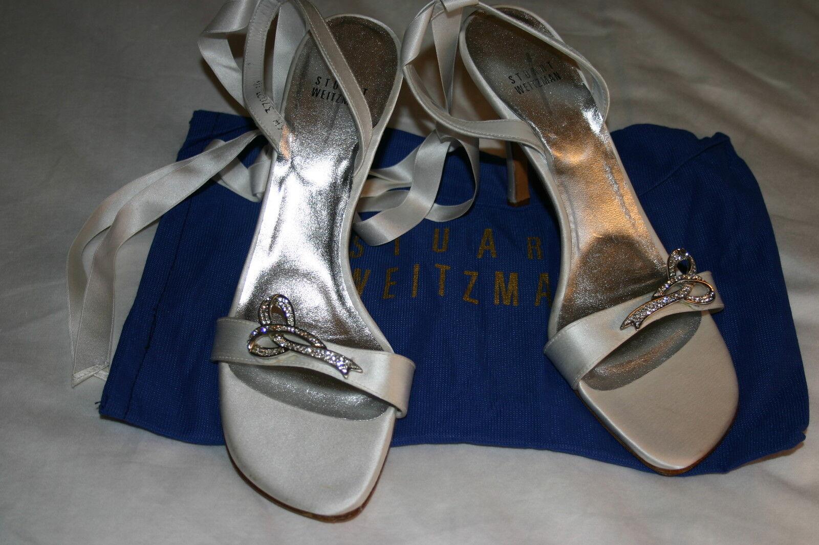 punto vendita STUART STUART STUART WEITZMAN Bridal bianca Ribbon JEWELED Sandals scarpe Sz 8.5 N  265 NWOB  negozio di vendita outlet
