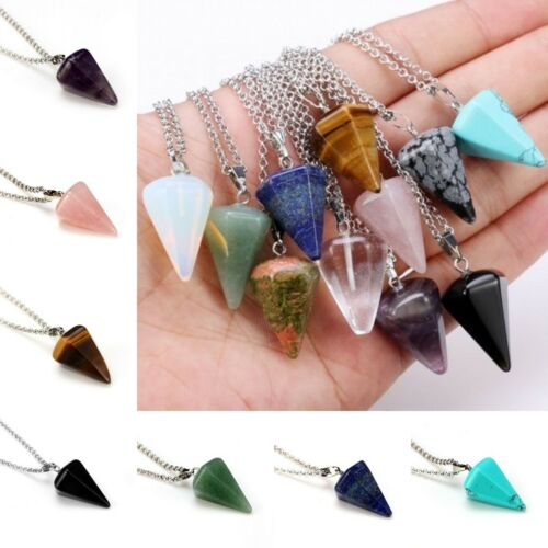 Natural Gemstone Crystal Healing Chakra Reiki Silver Stone Pendant Necklace Gift