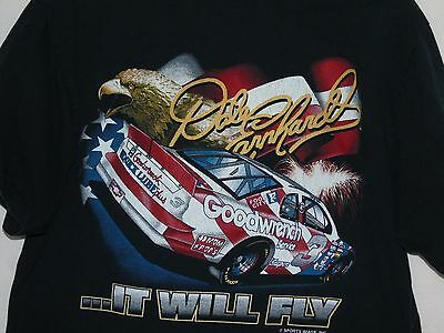 Dale Earnhardt T-Shirt XL It Will Fly Patriotic Car USA Flag Bald Eagle