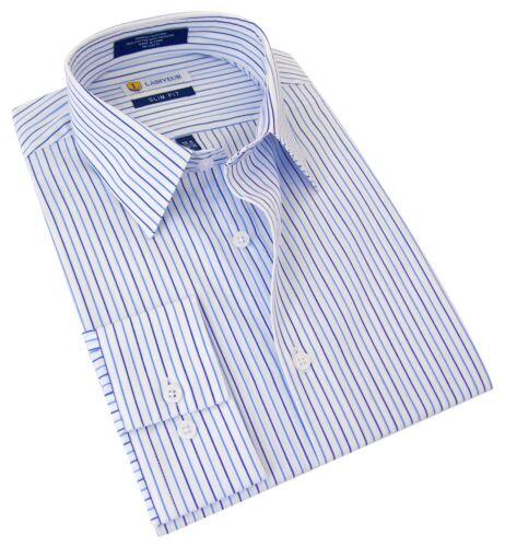 Men/'s Dress Shirt Labiyeur Slim Fit Blue Stripes on White Button Cuff
