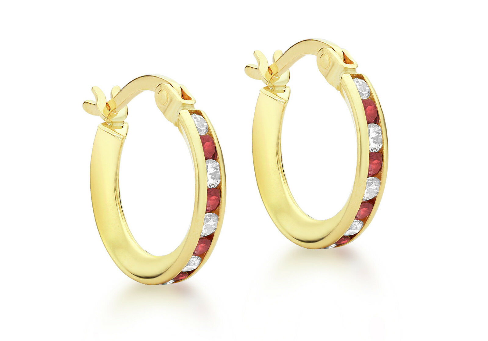 9ct Yellow gold 14mm Red And White CZ Creole Earrings Inc Luxury Gift Box