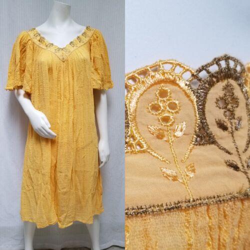Vintage 70's GREEK Orange Gauze Angel Sleeve DRESS
