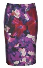 £129 NEW FENN WRIGHT MANSON SILK PURPLE FLORAL PRINT PENCIL SKIRT 8 4 36