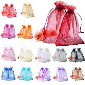 Luxe 20/100pcs Organza Sac Cadeau Bijoux Pochette Mariage Favor 7x9cm/10x12cm C13j-afficher Le Titre D'origine