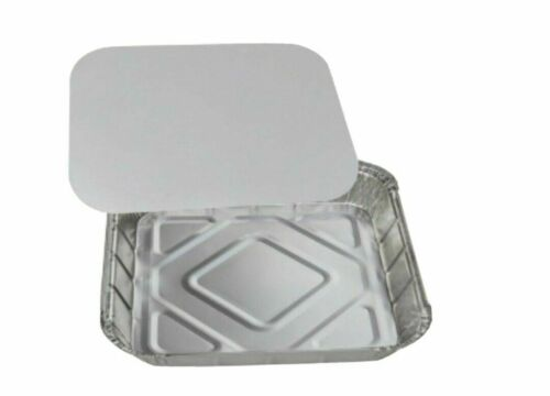 """9/"""" x 9/"""" NO9 LARGE ALUMINIUM FOIL FOOD CONTAINERS WITH LIDS OVEN BAKING TAKE AWAY"""
