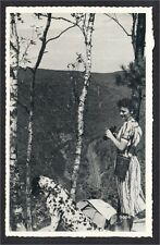Pine Creek Gorge PA Woman Binoculars Dalmatian Dog 1940s Silvercraft Postcard