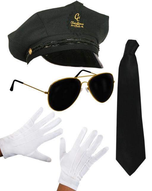 GLOVES Unisex Chauffeur Limo Limousine Driver 3 Piece Fancy Dress HAT Tie set