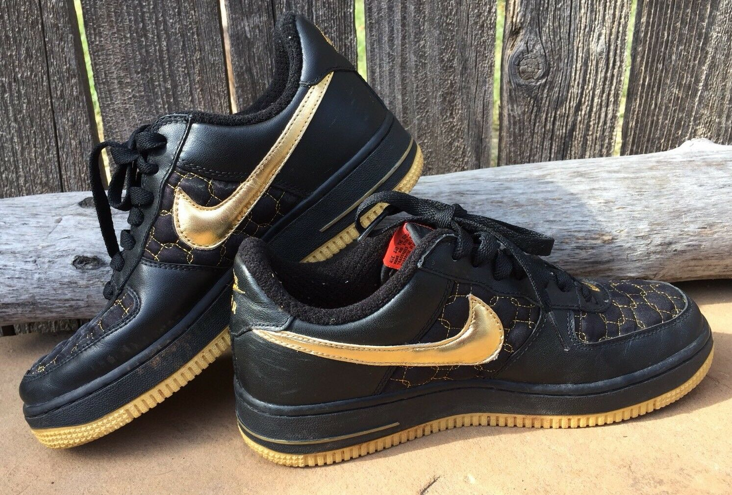NIKE AIR FORCE 1 Black/ Metallic Gold Max EUC! 307109-071 Size 7 (38) EUC! Max 334a49