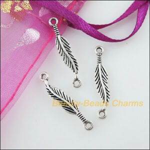 15-New-Charms-Leaf-Feather-Tibetan-Silver-Tone-Pendants-Connectors-4-5x24-5mm