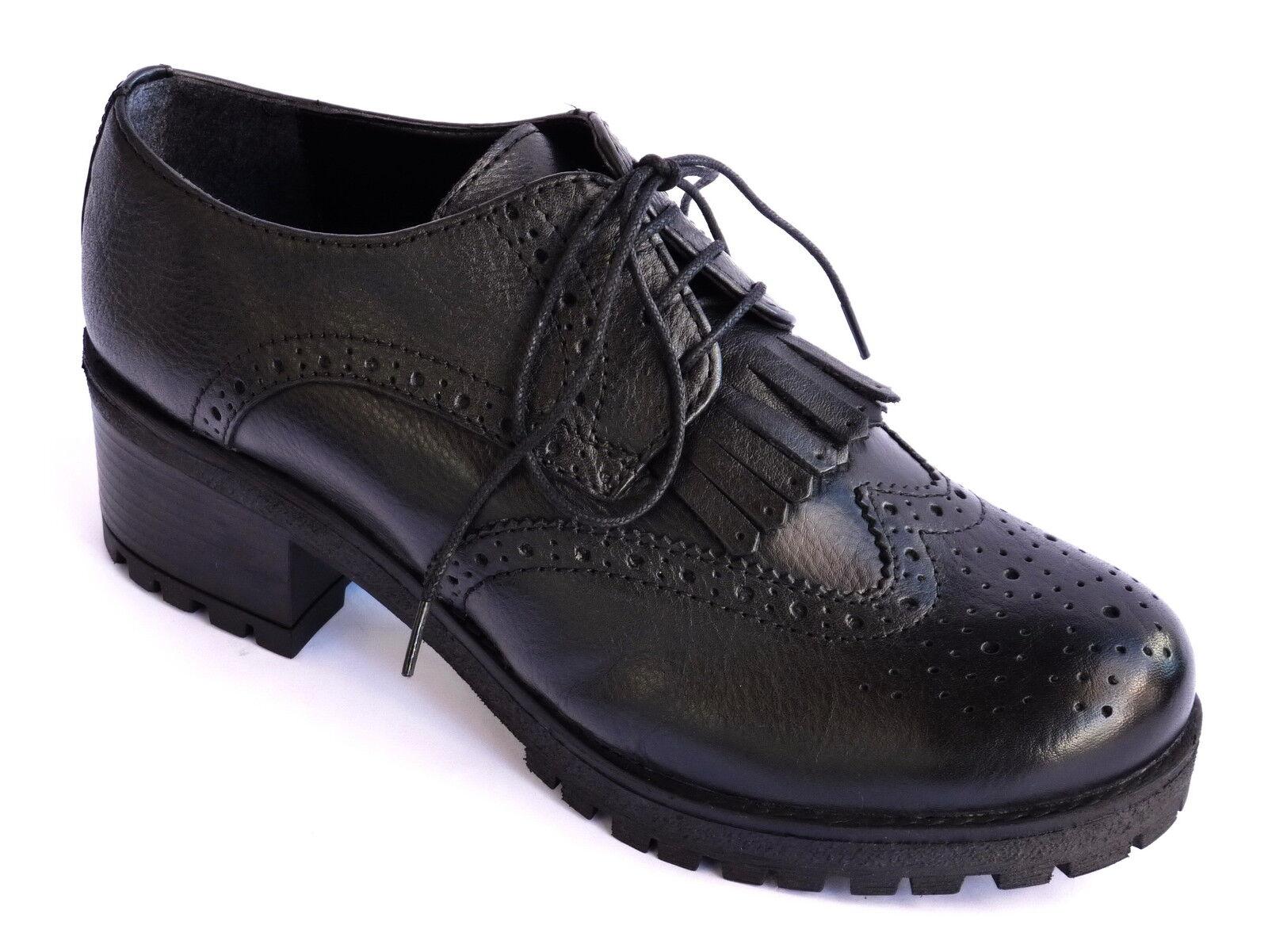 chaussures femmes STRINGATE FRANCESINE IN PELLE noir MODA GIOVANE  n. 39