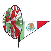 Mexico Staked Triple Wind Spinner With Pole & Ground Mount Pr 27123
