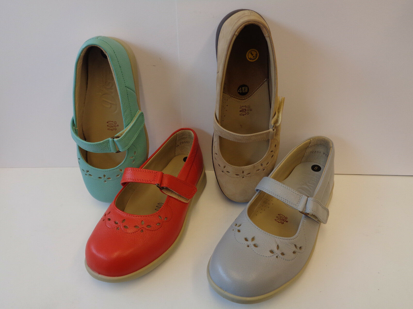 Ladies Easy B Leather Rip tape shoes 4 Colours Wide Fitting Kara