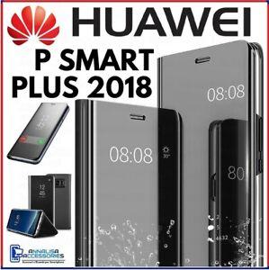 FUNDA LIBRO FLIP COVER CLEAR VIEW para HUAWEI P SMART PLUS + 2018 CARCASA NEGRA