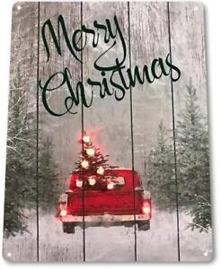 Merry-Christmas-Truck-Art-Holiday-Decoration-Metal-Decor-Sign
