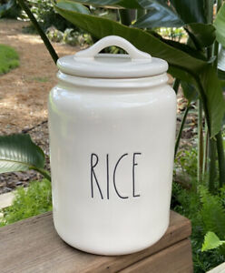 Rae-Dunn-Artisan-Collection-By-Magenta-RICE-LL-Large-Canister-HTF