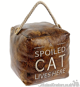 Heavy-brown-faux-leather-039-A-Spoiled-Cat-Lives-Here-039-door-doorstop-Cat-lover-gift