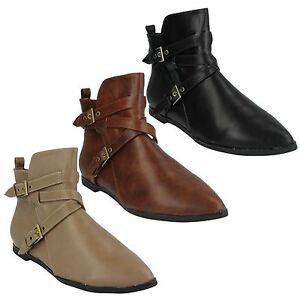 Womens Ladies F50069 Zip Up Shoes Flat Buckle Winter Ankle Boots Size Spot On Stiefel & Stiefeletten Damenschuhe